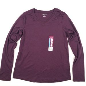 New Eddie Bauer V Neck Long Sleeve T Shirt